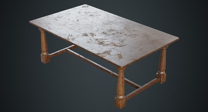 table 1b 3d model low-poly obj mtl fbx blend 1