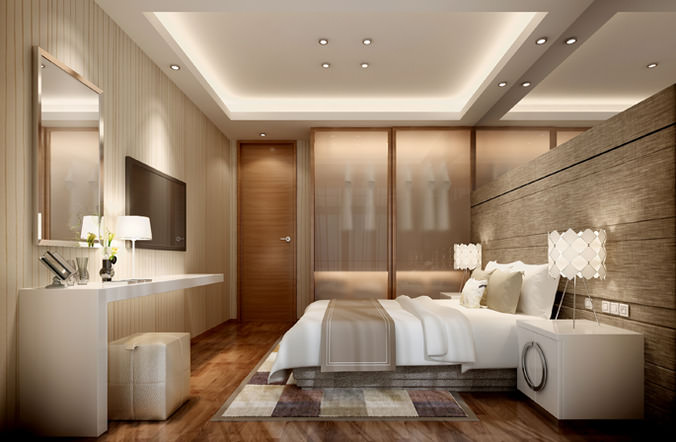 Hotel bed room interior 3d cgtrader for Model bedroom interior design