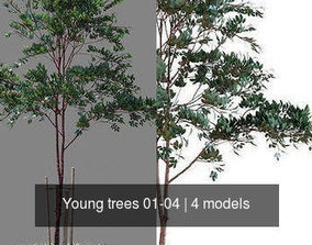 3D model Young trees 01-04