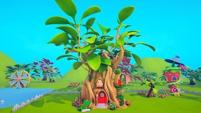 asset - cartoons - background- farm - hight poly 3d model max obj mtl fbx ma mb hrc xsi tga 1