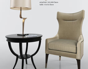 3D model Gina Mid Century Wing Chair and Qs scheffield 1