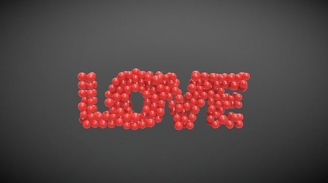 word love formed out of spheres 3d model fbx 1