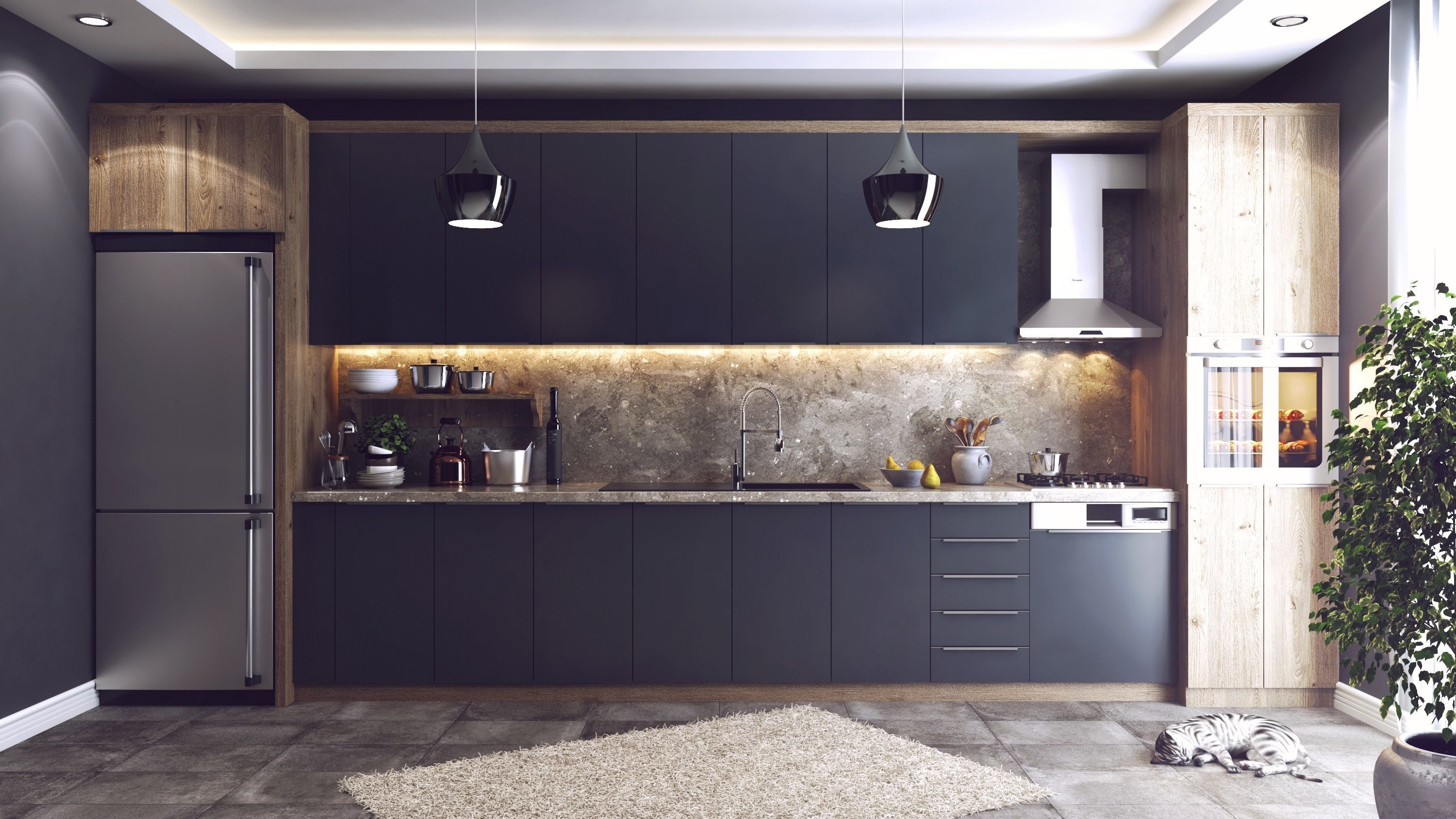 Modern Kitchen 7D Model Vray Settings and PSD File  7D model