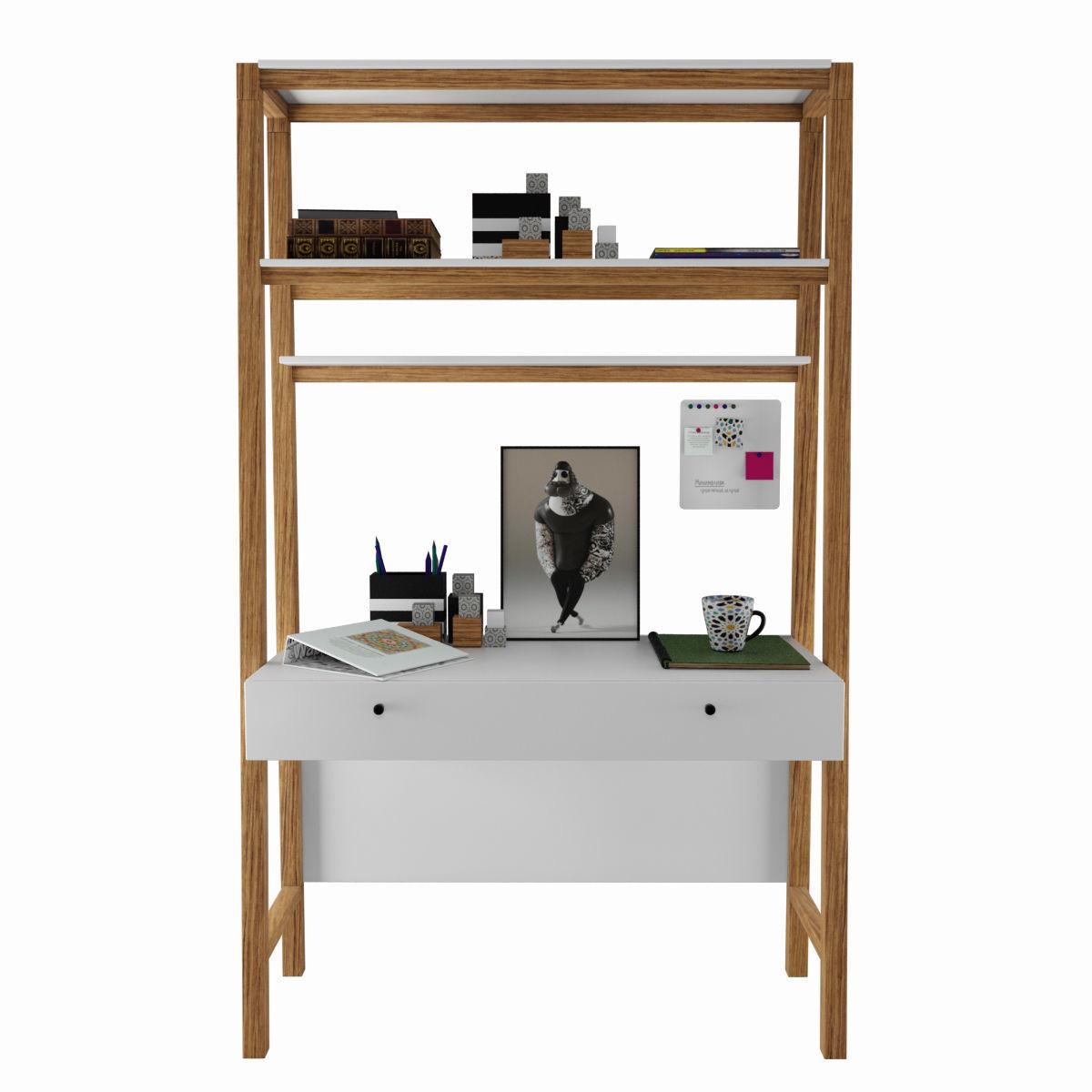 3d Model Modern Wall Desk West Elm With Decor Cgtrader