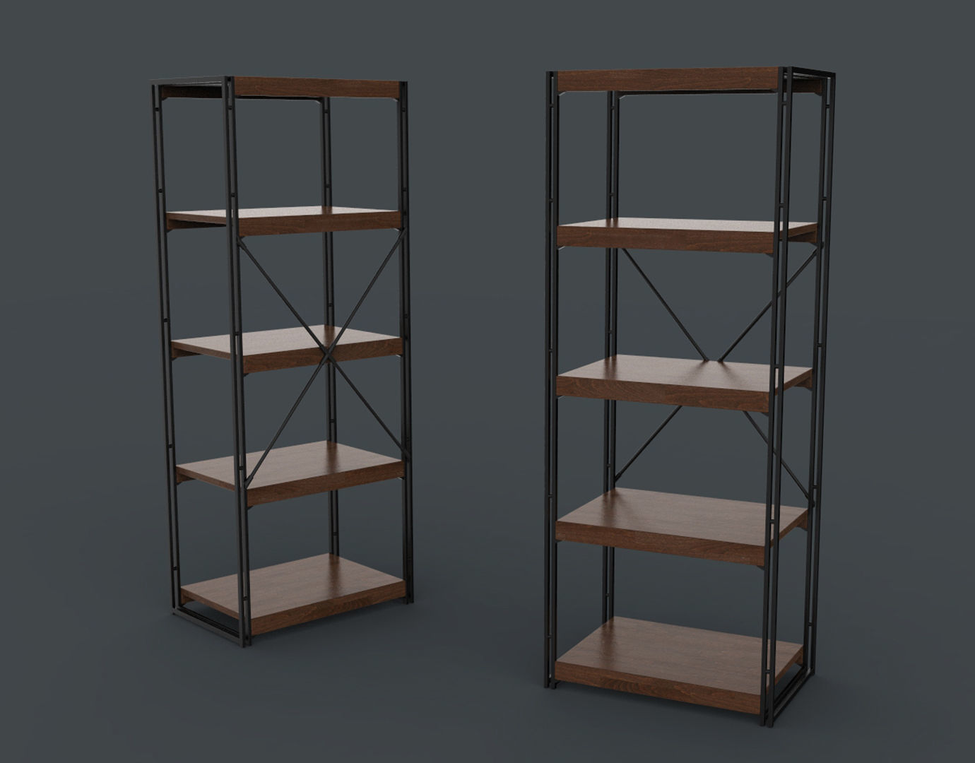 Bookcase Wooden Black and Brown