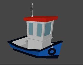 Fishing boat Low-poly 3D model