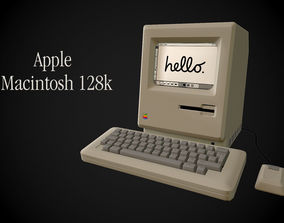 3D asset Apple Macintosh 128k retro computer