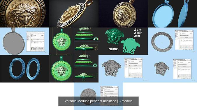 versace medusa pendant necklace 3d model obj mtl stl 3dm ztl stp 1