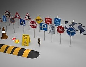 Big Traffic Signs Pack Low-Poly 3D model