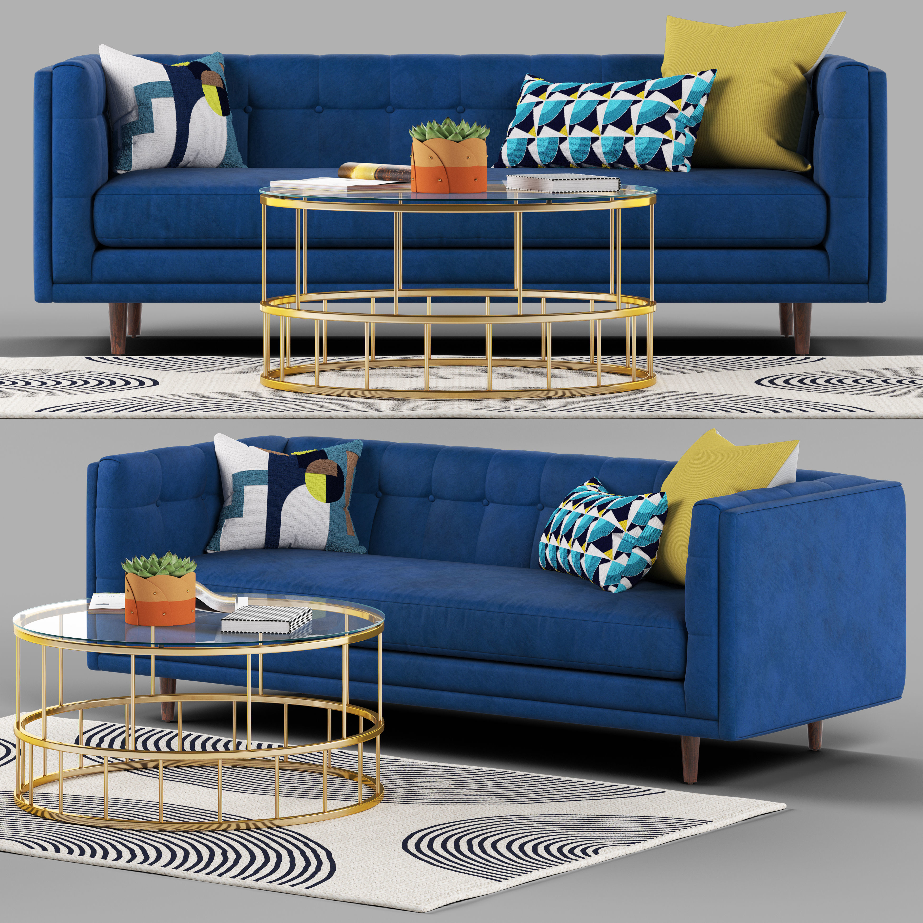 3D model glass Bradford sofa set | CGTrader