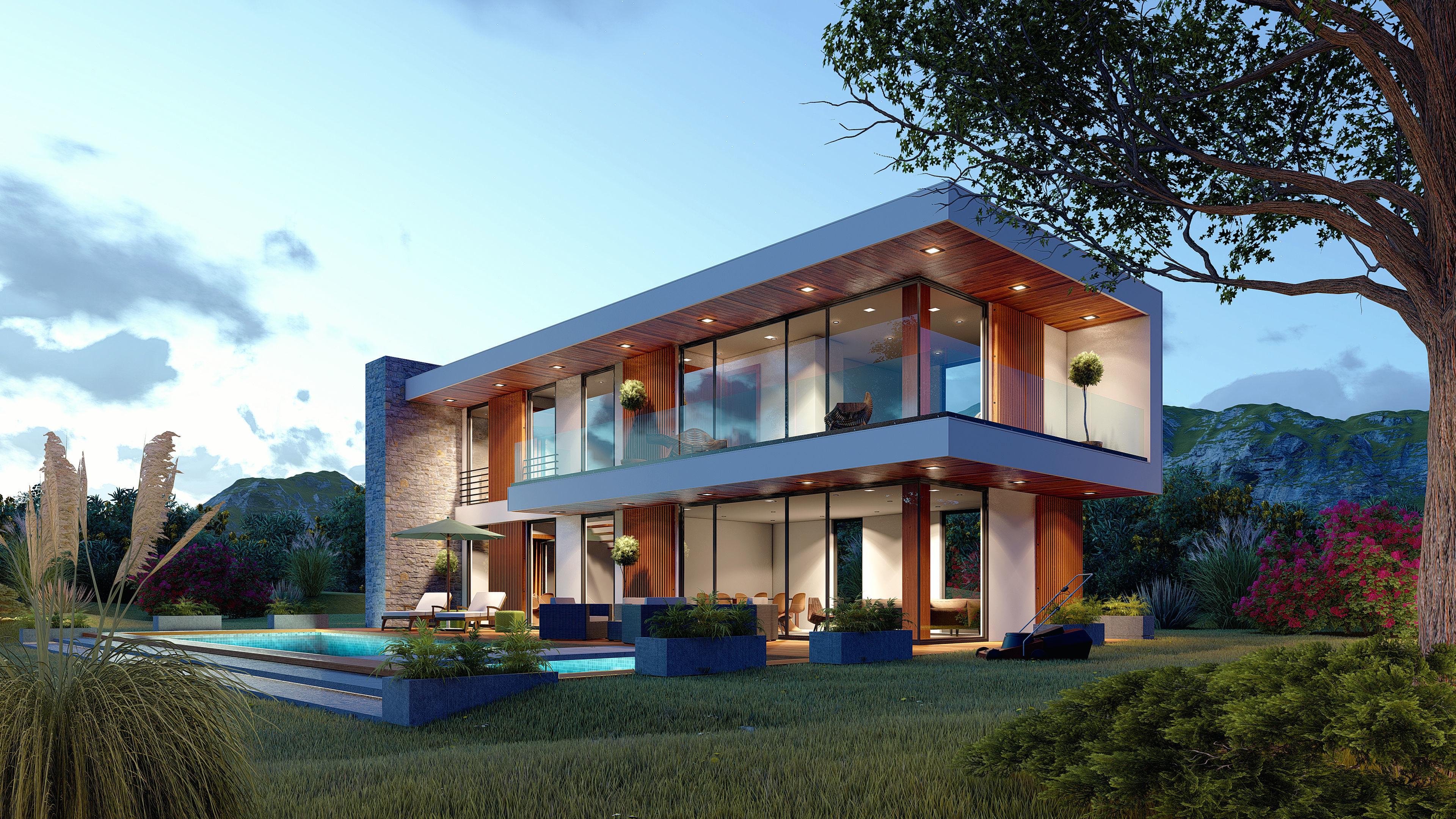 Contemporary house high quality exterior scene lumion 8 3d model skp ls8 5