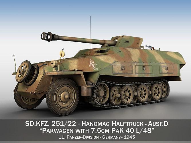 sdkfz 251 ausf d - pakwagen - 11 pz div 3d model obj mtl 3ds fbx c4d lwo lw lws 1