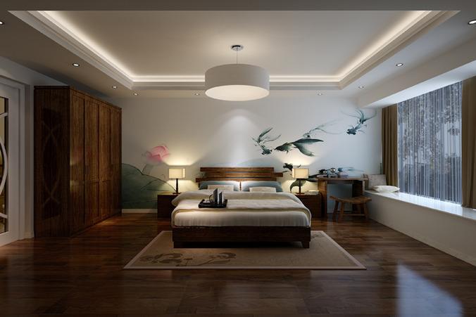 minimalistic bedroom interior 3d model max 1