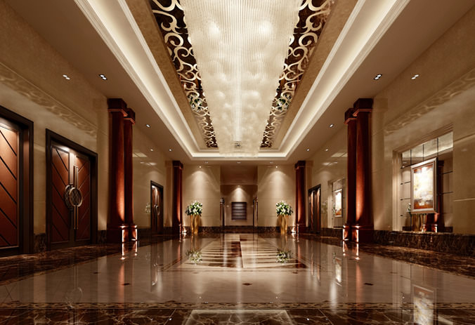 3d model luxury hall lobby interior cgtrader for 3d wallpaper for hall