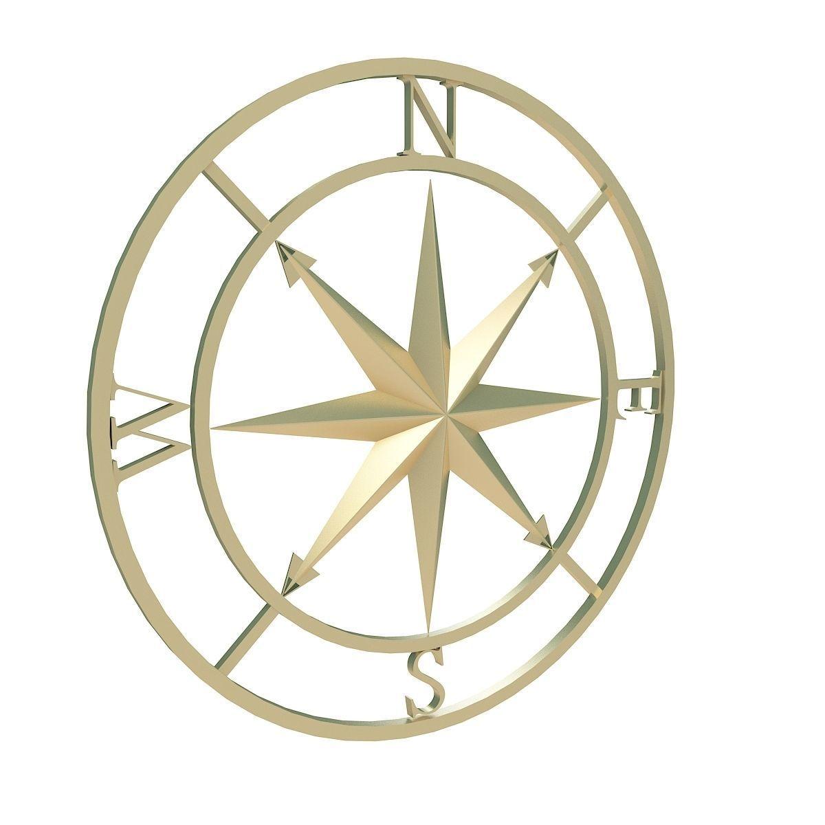 Compass rose 3D model MAX OBJ 3DS FBX DXF