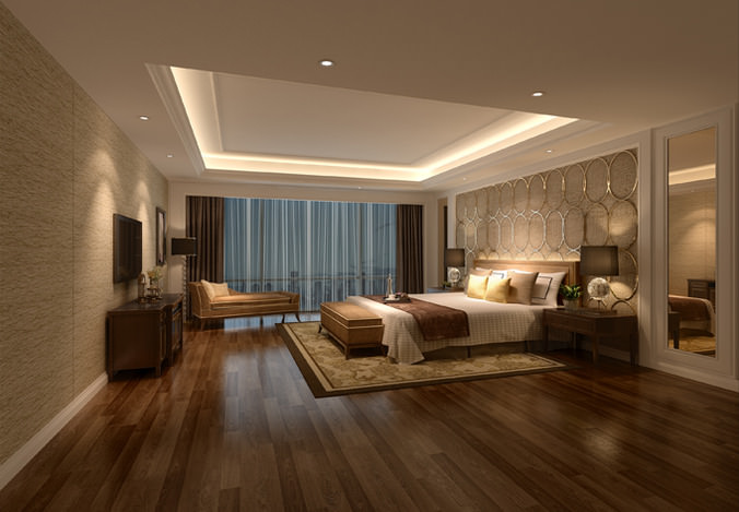 3d model hotel bed room interior cgtrader for Bedroom designs 3d model
