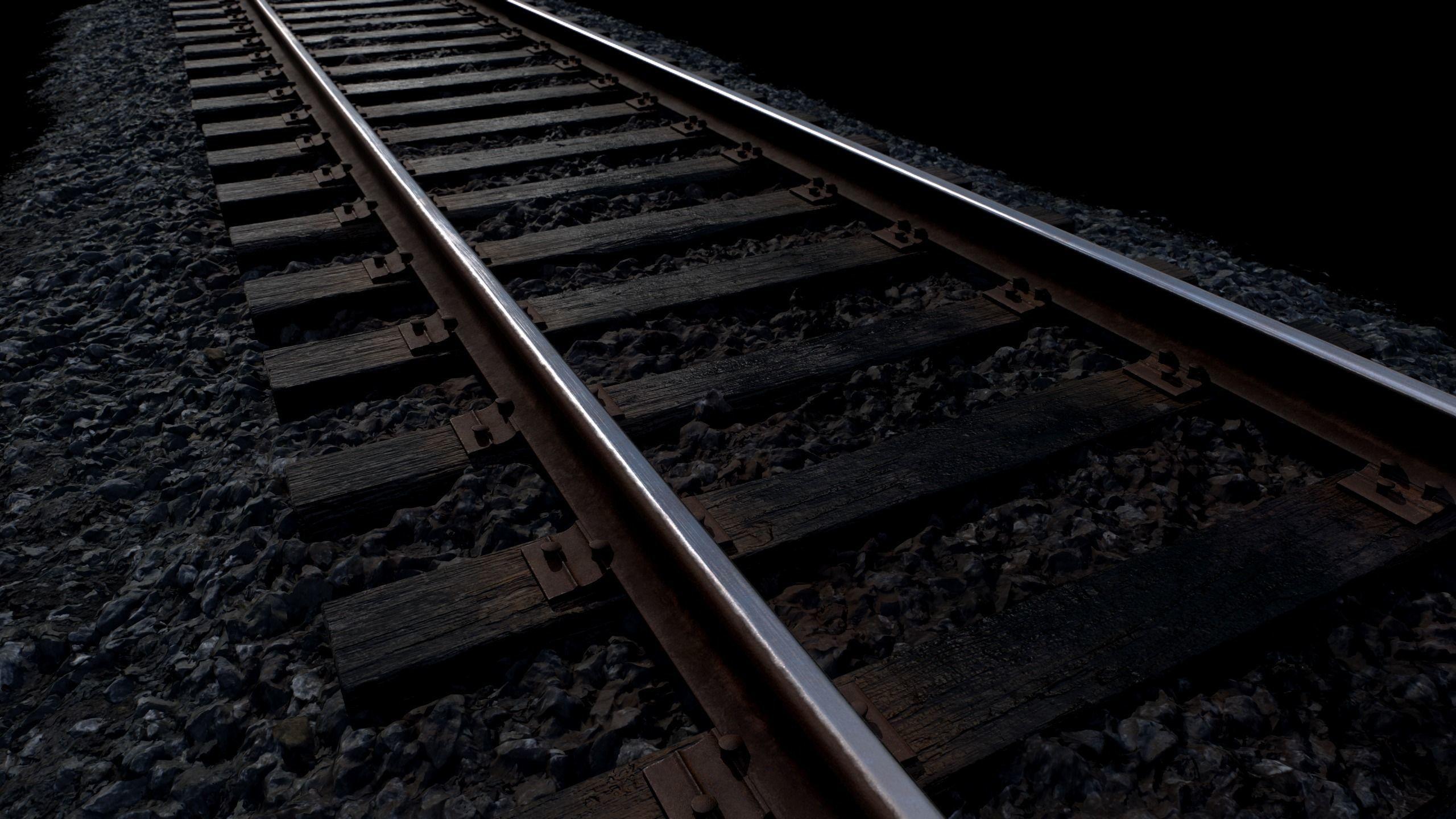 Railroad with Wood Sleepers