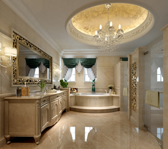 Luxury white bath room interior 3d cgtrader for Model bathrooms pictures