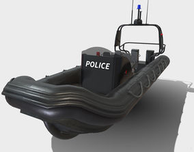Low Poly PBR Police Zodiac Boat 3D model