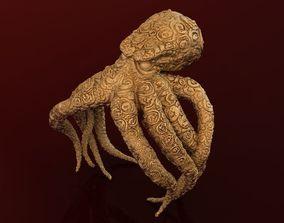 3D print model Unisex Octopus Ring in Mate Gold 14k