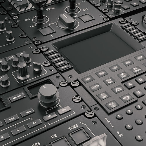 cockpit elements 3d model obj mtl fbx blend 1