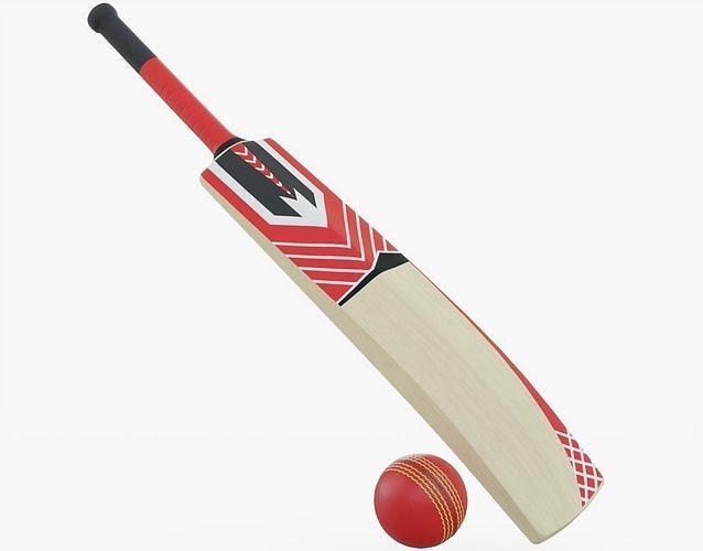 cricket bat and ball 3d model obj mtl 3ds fbx stl blend 1