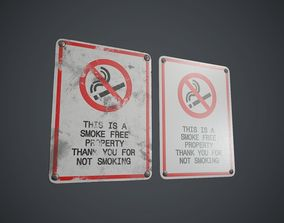 3D asset Plastic No Smoking Sign 2 PBR Game Ready