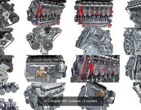 3D model V12 Engine with Cutaway