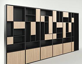 Wide modern cabinet cupboard 6 section 3D model