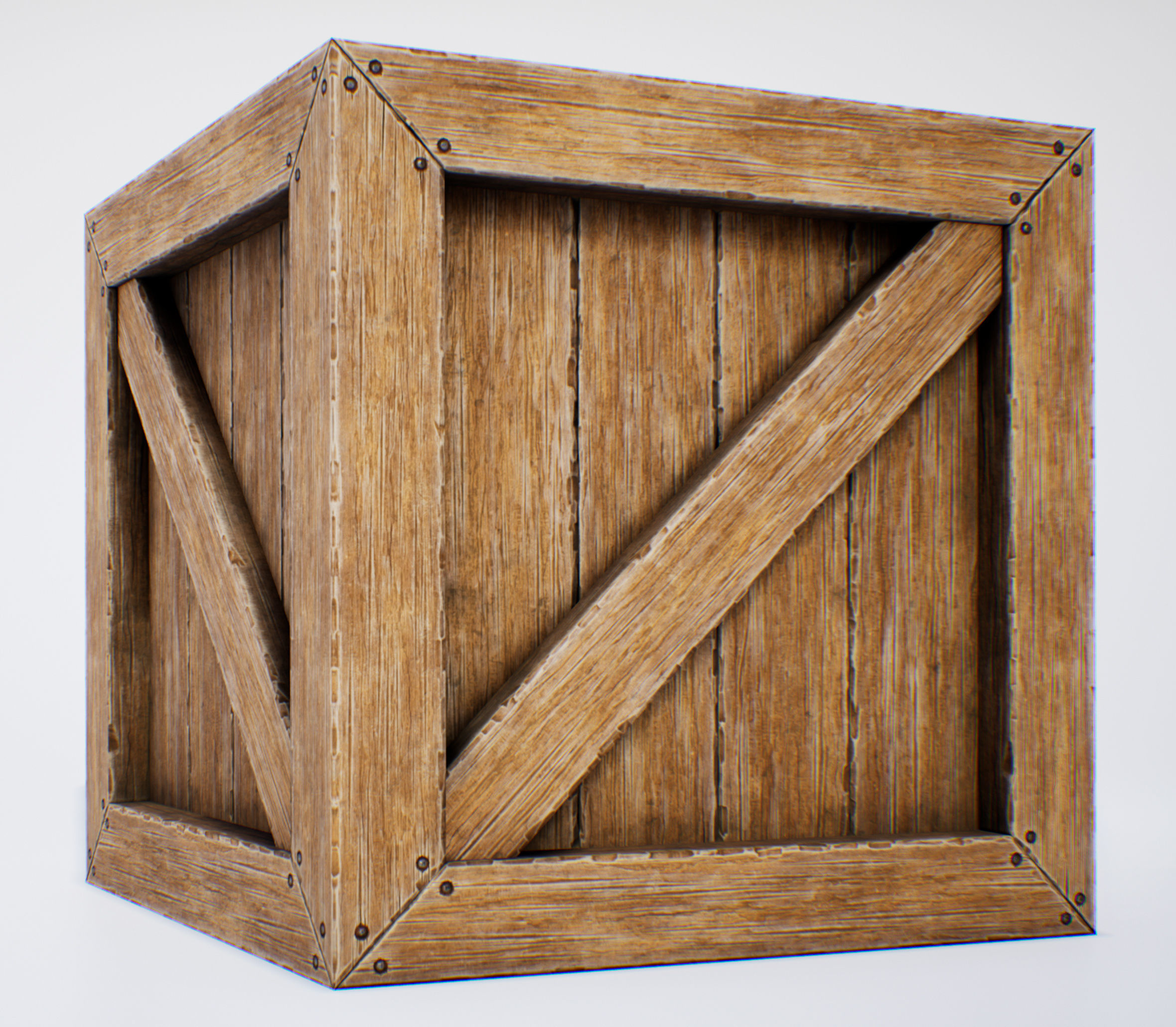 3D model Wooden Box - PBR Game-Ready VR / AR / low-poly ...