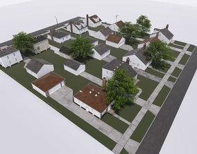 3D model block of houses
