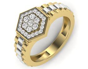 diamond Diamond Gents Ring 3D print model