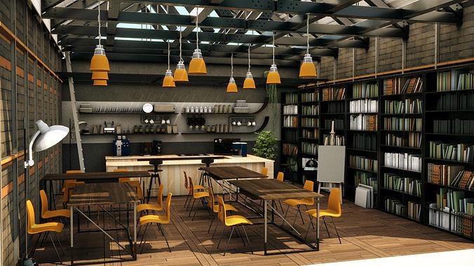 cool coffee shop 3d model fbx ma mb 1
