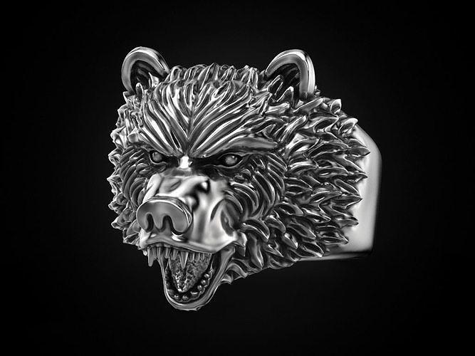 ring bear head 3d model stl 1