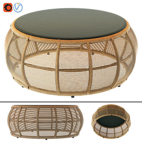 tamarin round resin wicker and grey glass garden coffee table 3d model max obj mtl fbx 1