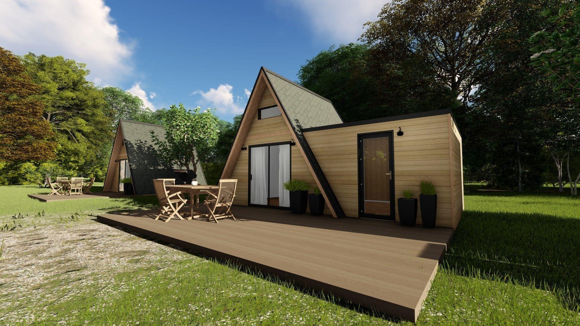Modern Mountain Cabin Alpine Style Mobile Home 3d Model 1