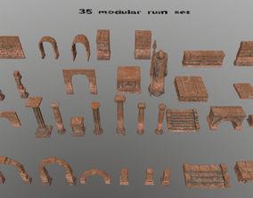 3D model old ruin set