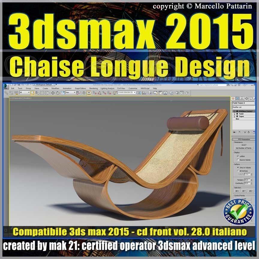 Video Corso 3ds max 2015 Chaise Longue v 28 Italiano cd front