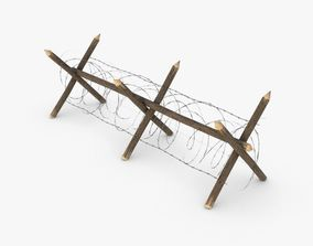 Barbed wire fence WWII 3D model
