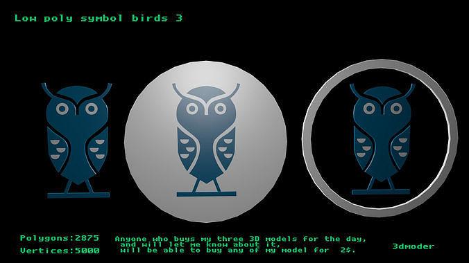 Low poly symbol birds 3