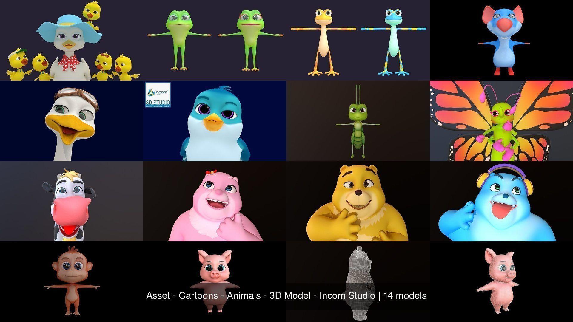 Asset - Cartoons - Animals - 3D Model - Incom Studio