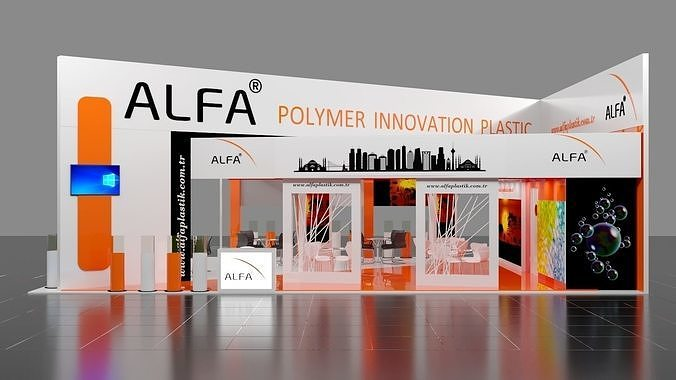 13mx9m 3 sides open double storey exhibition stall  corona vray  3d model max obj mtl 3ds fbx 1