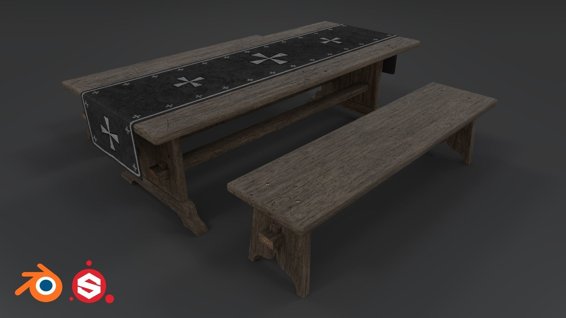 Enjoyable Medieval Table And Bench Pbr 3D Model Machost Co Dining Chair Design Ideas Machostcouk