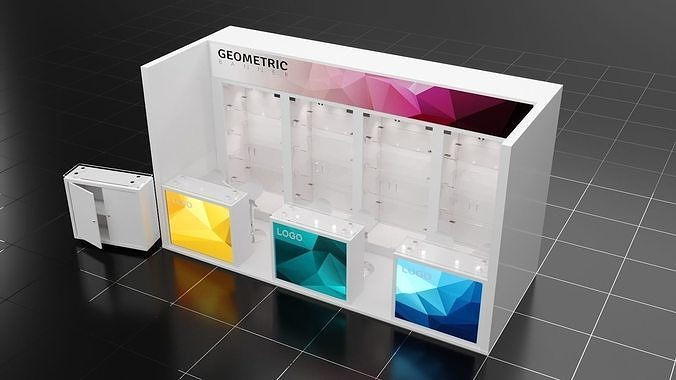 5mx2m 1 side open exhibition stall corona vray -  render ready  3d model max obj mtl 3ds fbx 1