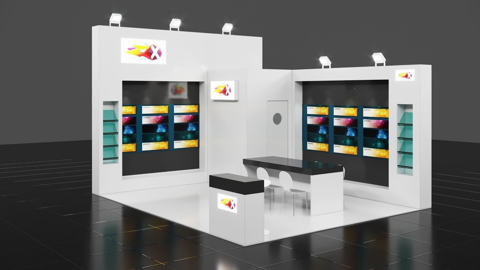 Exhibition Stall Materials : M m side open exhibition stall corona d model