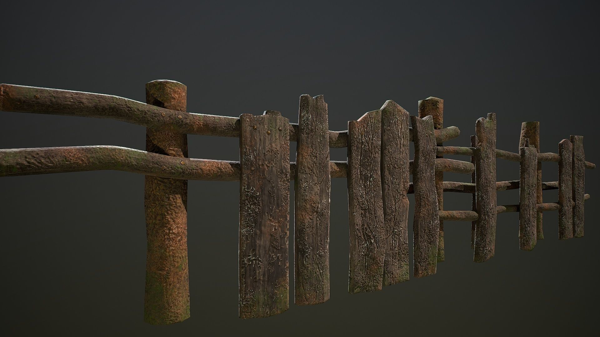 Low poly village old wooden fence patch environment asset | 3D model