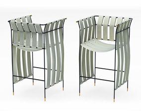 Satin-metal bar stool 3D