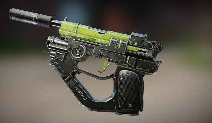 advanced pistol 3d model obj mtl fbx blend 1