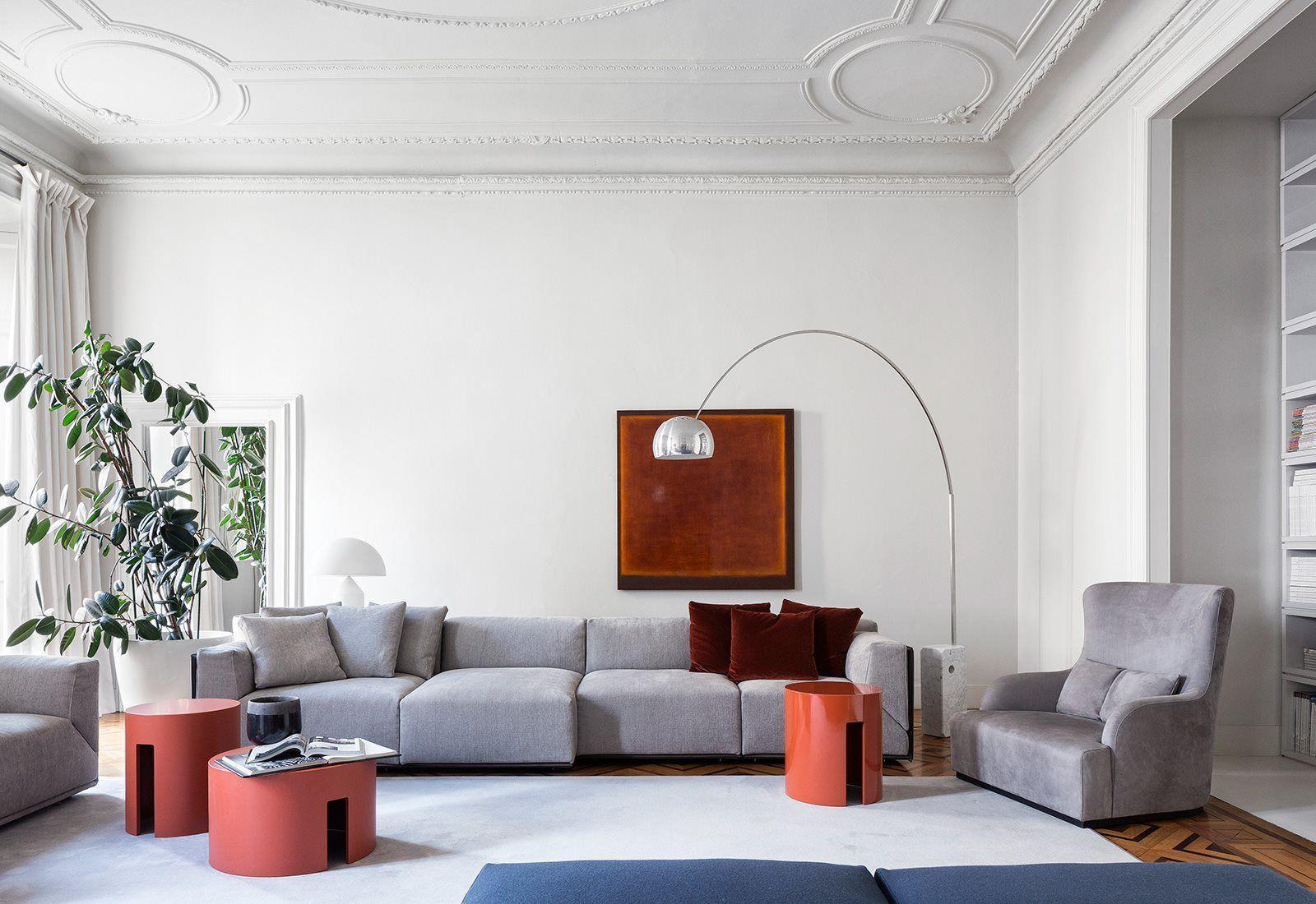 Italian modern sofa combined with floor lamp | 3D model