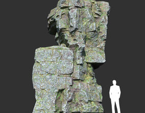 Low poly Mossy Layer Rock 04 3D asset